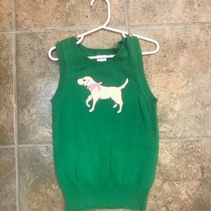 Gymboree Yellow Dog Sweater Vest in Kelly Green